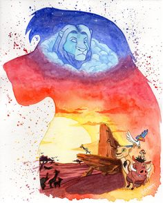 Watercolor -- Lion King by Nero203 on DeviantArt