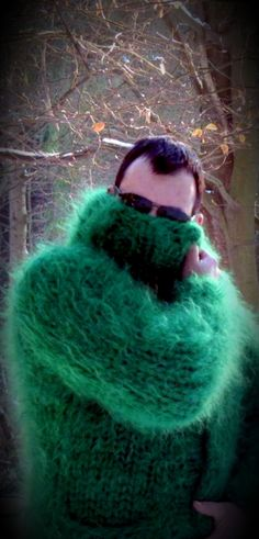 Gros Pull Mohair, Catsuit, Mittens, Fur Coat, Men Sweater, Turtle Neck, Pullover, Wool, Knitting