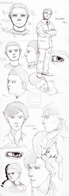 Sherlock/John studies. by ~suisou on deviantART