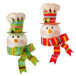 """RAZ Snowman Head  2 Assorted Styles - Priced Individually - choose color White, Red, Green, Blue, Pink, Yellow Made of Polyester Measures 15"""" X 9.5"""" X 9.5"""" Can Also be a Tree Topper  Cheerful"""