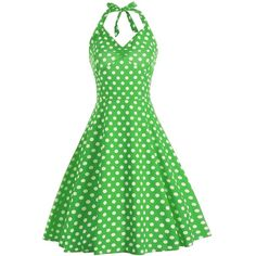 Lace Up Polka Dot Halter Party Dress ($22) ❤ liked on Polyvore featuring dresses, green halter top, green cocktail dress, laced up dress, halter neckline dress and halter dresses
