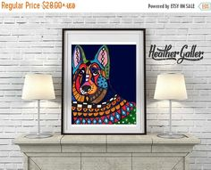 60% Off Today- German Shepherd art dog Poster Print of painting by Heather Galler (HG476)
