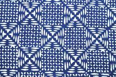Unique Tile pattern Indigo fabric Block print by VedahDesigns