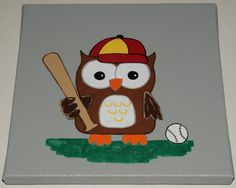 Owl Wall Art - Owl playing Baseball - Owl Canvas Painting - Owl Decor