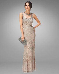 Women's Nude/Silver Alessandra Embellished Full Length Dress