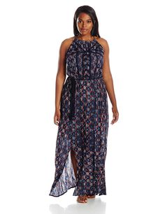 Lucky Brand Women's Plus-Size Printed Maxi Dress *** Trust me, this is great! Click the image. : Plus size fashion