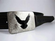 Hawk Belt Buckle  Stainless Steel  Handmade by RhythmicMetal, $35.00