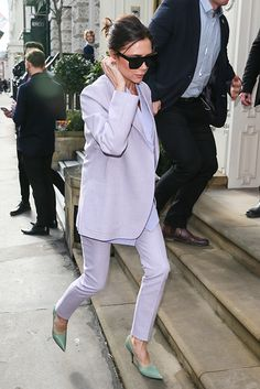 Victoria Beckham wears lilac three-piece pastel suit with mint green shoes  in London 93a7e19e38f