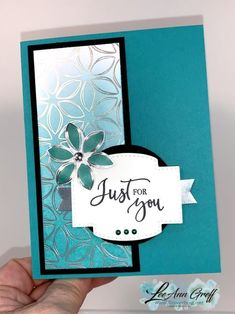 Ombre sponging technique with Flowering Foils – Scrapbooking Foil Paper, Paper Cards, Scrapbooking Diy, Stamping Up Cards, Cards For Friends, Pretty Cards, Cool Cards, Flower Cards, Creative Cards