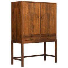 Amazing Ole Wanscher Cabinet In Rosewood By Snedkermester A. J Iversen In Denmark