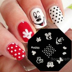 125 Best Mickey Mouse nails images in 2020 Mickey Mouse Nail Art, Minnie Mouse Nails, Disney Nail Designs, Nail Art Designs, Get Nails, Hair And Nails, Gorgeous Nails, Pretty Nails, Nagel Hacks
