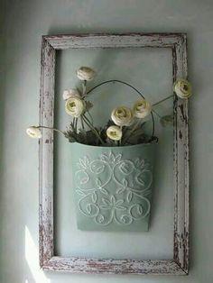 shabby farmhouse light blue decor - rustic empty frame with tin pot of flowers