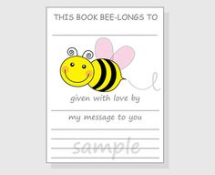 Printable Bring Book Request Insert  DIY by LilCubbyPrintables
