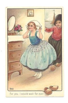 Dutch Children, postcard, by illustrator Florence Hardy-English (1867-1957)