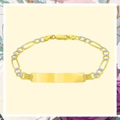 Solid 14K Yellow Gold Two-Tone ID Bracelet with 5mm White Pave Figaro Chain Link, 7.25' (This is an affiliate pin) #womensbracelets Id Bracelets, Chain, Yellow, Link, Gold, Stuff To Buy, Jewelry, Jewlery, Jewerly
