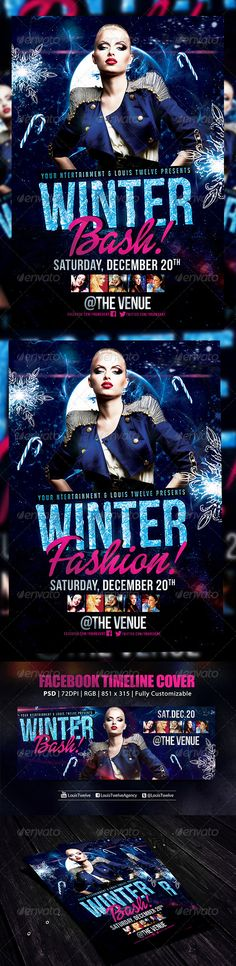Winter Bash 2 | Flyer + FB Cover — Photoshop PSD #concert #navidad • Available here → https://graphicriver.net/item/winter-bash-2-flyer-fb-cover/6132735?ref=pxcr