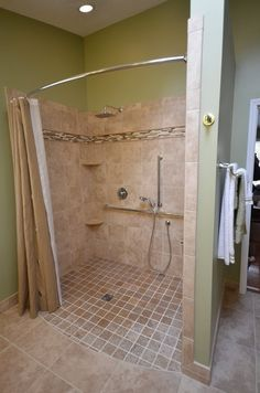 Handicapped Accessible Shower Roll In Shower. Curved Rod Increases ... Ada BathroomHandicap  BathroomDesign ...