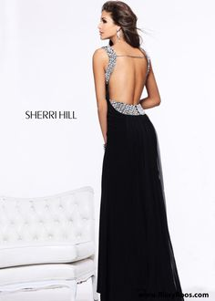 Beautiful open back detailing! Sherri Hill 11025 - Black Beaded Open Back Prom Dresses - RissyRoos.com #prom #promdress #promdresses #openback #sherrihill