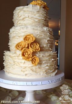 "Design W 0690 | Fondant Ruffle Wedding Cake | 10""+ 8""+ 6"" 