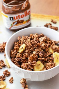 Healthy, easy granola with Nutella hazelnut spread and bananas.