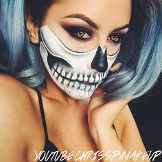 This video is up on my YouTube channel! Click the link in my bio to watch and don't forget to subscribe! #Chrisspy #halloween #skullmakeup