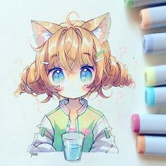 """Yoai / Anny / Cicishu (•ᴗ•) trên Instagram: """"Would you say this glass is half-full or half-empty? ( ͡° ͜ʖ ͡°)"""" Copic Drawings, Anime Drawings Sketches, Anime Sketch, Kawaii Drawings, Cute Drawings, Cute Art Styles, Cartoon Art Styles, Anime Character Drawing, Character Art"""