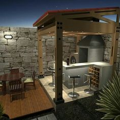 Barbeque Design, Grill Design, Backyard Seating, Backyard Pergola, Barra Bar, Front Garden Landscape, Jacuzzi Outdoor, Outside Room, Outdoor Kitchen Design