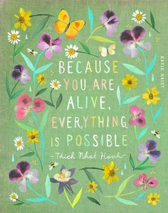 ON SALE!! Everything Is Possible art print | Watercolor Painting | Thich Nhat Hanh | inspirational Wall Art | Katie Daisy | 8x10 | 11x14