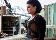 """Former MMA fighter Gina Carano as villain, Angel Dust, in Marvel's Movie """"Deadpool"""" Female Mma Fighters, Deadpool 2016, Cara Dune, Cinema Tv, Angel Dust, Leather Vest, Cosplay Costumes, Cosplay Ideas, Halloween Costumes"""