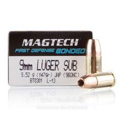 Magtech First Defense Bonded 9mm Ammo - 50 Rounds of 147 Grain JHP Ammunition  #Magtech #MagtechAmmo #9mmammo #JHP