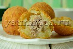 Вкусные картофельные шарики с мясом – пошаговый фото рецепт