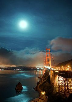 Full Moon and Fog over the Golden Gate Bridge ,San Francisco,California