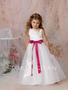 one shoulder asymmetrical floral neckline floor length flower girl dress with ribbon