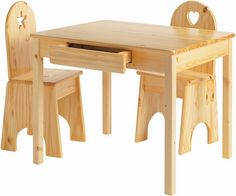 Children wooden table and solid back kids chairs
