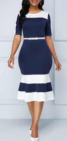 Short Sleeve Zipper Back Navy Blue Sheath Dress - Peinados de la s mujeres Cheap Blue Dresses, Navy Blue Dresses, Sexy Dresses, Casual Dresses, Short Sleeve Dresses, Dresses For Work, Party Dress Sale, Club Party Dresses, Wine Red Dress