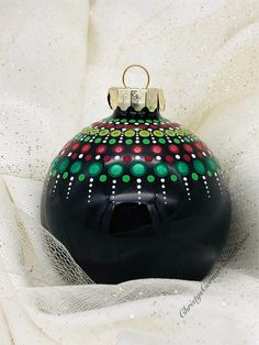 Excited to share this item from my Etsy shop: Hand painted Mandala Christmas Ornament Black Glass Ball Clay Christmas Decorations, Painted Christmas Ornaments, Christmas Crafts, Diy Ornaments, Christmas Baubles To Make, Christmas Bulbs, Holiday Decor, Christmas Mandala, Christmas Rock