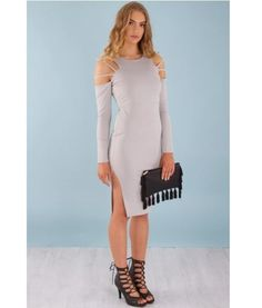 Nat Cold Shoulder Long Sleeve Midi Bodycon Dress – Grey | $67.95 |  f r e e   p o s t | cold shoulder  •  long sleeve •  clutch