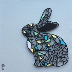 Geometric Rabbit Papercut  Framed by HowellIllustration on Etsy