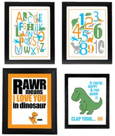 DIY Printable Poster Set  Dinosaur, t-Rex, alphabet, numbers, rawr I love you, happy and you know it