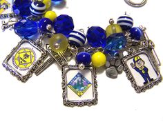 PROUD MOM of a Cub Scout Altered Art Charm Bracelet Glass Beaded.