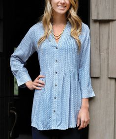 Another great find on #zulily! Blue Gisele Pin Tuck Button-Up Tunic #zulilyfinds