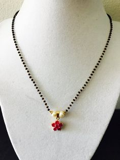 Cute and elegant small ruby stones pendant with black beads chain Gold And Silver Bracelets, Cheap Silver Rings, Gold Bangles, Beaded Jewelry, Silver Jewelry, Silver Earrings, Jewelry Art, Jewelry Rings, Gold Jewellery