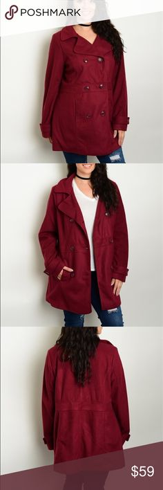 Burgundy Pea Coat Sizes 1X, 2X, 3X Gorgeous Pea Coat in one of this seasons hottest colors. Super Soft Polyester and hand washable. Waist on the 1X is 42. Available in 1X, 2X and 3X.  If you have any questions at all please don't hesitate to ask. Jackets & Coats Pea Coats