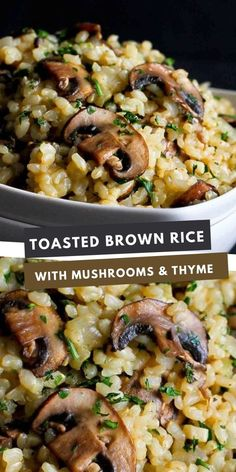 Sometimes side dishes are the best part of the meal, and this Toasted Brown Rice with Mushrooms and Thyme recipe definitely falls into that category! 56 calories and 3 Weight Watchers SP | Vegan | Vegetarian | Healthy | Easy | Dinner | Mushroom #veganrecipes #brownricerecipes Healthy Meal Prep, Easy Healthy Dinners, Healthy Dinner Recipes, Healthy Snacks, Vegan Dinners, Side Dish Recipes, Veggie Recipes, Veggie Meals, Top Recipes