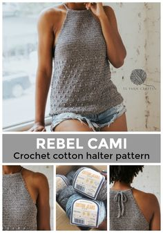 Make the Rebel Cami, a sassy but sweet drawstring halter top crochet pattern from TL Yarn Crafts. Challenge your crochet stills with unique shaping and textured stitches. Pattern available in 2 sizes with plenty of photo tutorials and a helpful chart. T-shirt Au Crochet, Pull Crochet, Mode Crochet, Crochet Shirt, Crochet Woman, Crochet Crafts, Yarn Crafts, Crochet Stitches, Crochet Projects