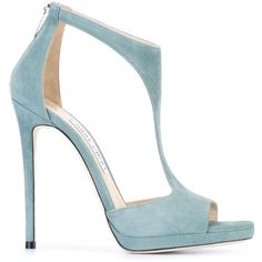 Jimmy Choo 'Lana 120' sandals (£640) ❤ liked on Polyvore featuring shoes, sandals, jimmy choo, обувь, blue, open toe stilettos, blue stilettos, leather shoes, open toe leather sandals and stiletto shoes