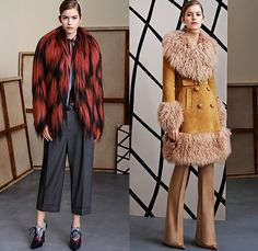 Gucci 2015 Pre Fall Autumn Womens Lookbook Presentation - Denim Jeans 1960s Sixties 1970s Seventies 3D Embellishments Coat Knit Furry Suede Flare Windowpane Check Blousedress Accordion Pleats Hippie Bohemian Embroidery Adornments Bejeweled Outerwear Jacket Peacoat Sweater Jumper Scarf Ribbon Cropped Pants Trousers Ornamental Print Decorative Art Brogues Studs Dress Shirtdress Wrap Gown Fauna Foliage Print