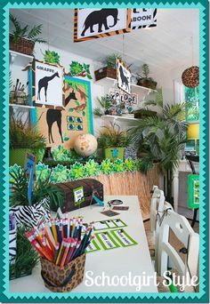 """JUNGLE THEME. I personally love the idea of having a """"jungle"""" theme in the classroom. It would not only make things bright and colorful, but it would open so many doors to discussion about the world around us. This website gives a lot of small detail ideas about what to incorporate if you wanted a classroom like this! -Kaitlyn Griep"""