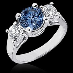 1 ct. blue diamonds 3-stone ring engagement ring gold