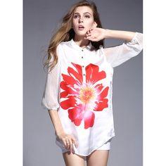 New 2015 Spring Summer Style Women Blouse Silk Floral Print Chiffon Shirts Half Sleeve Casual Loose Blouse Blusa Feminina